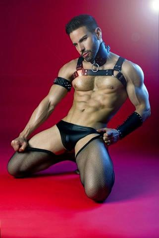 Leather stubble fishnet