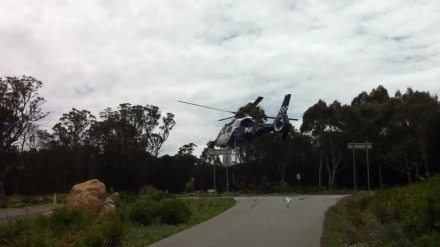victoria police helicopter taking off mt macedn